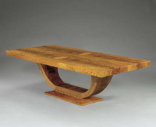 AN IVORY INLAID WALNUT DINING
