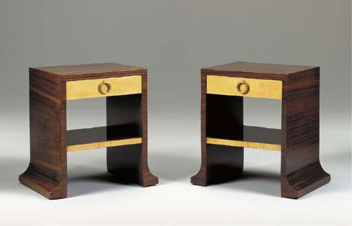 A PAIR OF ROSEWOOD AND SYCAMOR