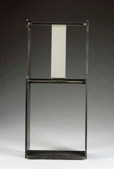 A LACQUERED WOOD AND MIRRORED