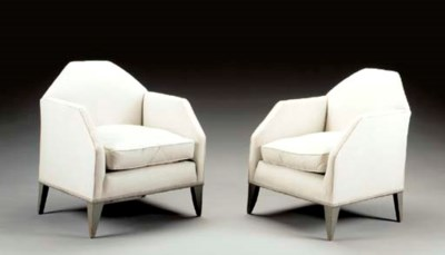 A PAIR OF UPHOLSTERED AND PAIN
