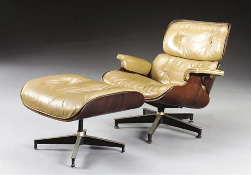 A ROSEWOOD AND LEATHER LOUNGE