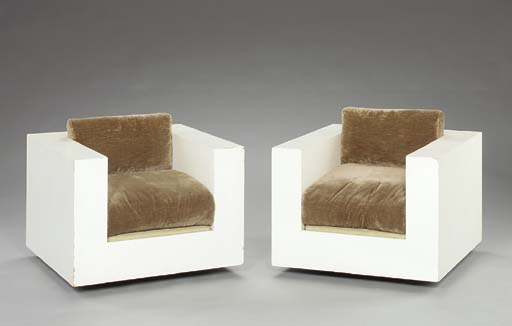 A PAIR OF WHITE-PAINTED CUBE C