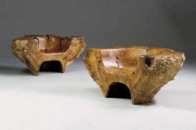 A PAIR OF CARVED MYRTLE WOOD A