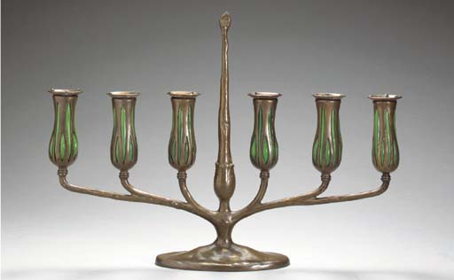 A FAVRILE GLASS AND BRONZE SIX