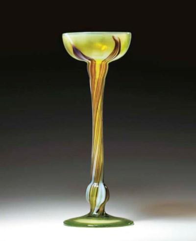 A FAVRILE GLASS FLORIFORM VASE