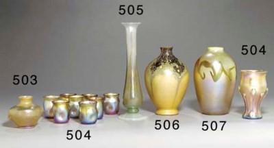 A DECORATED FAVRILE GLASS CABI