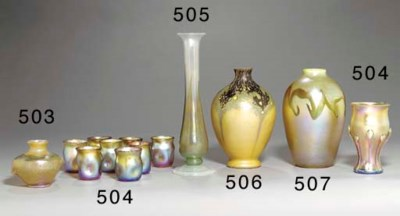 A SET OF EIGHT FAVRILE GLASS C