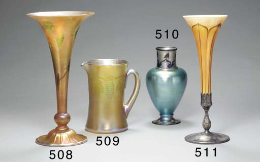 A DECORATED FAVRILE GLASS VASE