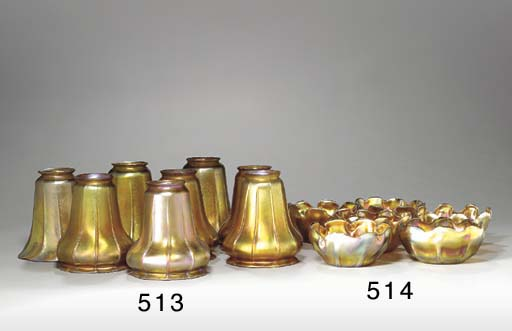 A SET OF SIX FAVRILE GLASS FIN