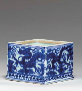 A Rare Blue and White Square Box