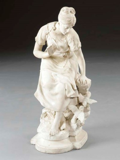 An Italian white marble figure