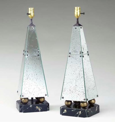 A PAIR OF PYRAMID-FORM MIRRORE