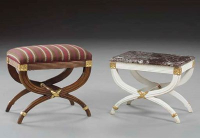 TWO EMPIRE STYLE STOOLS,
