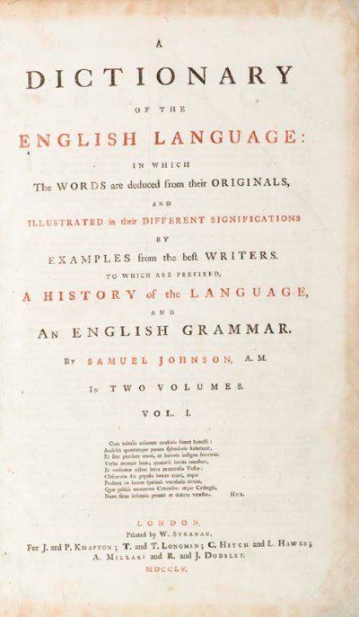 JOHNSON, Samuel (1709-1784). A