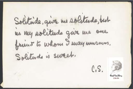 SANDBURG, Carl. (1878-1967). A