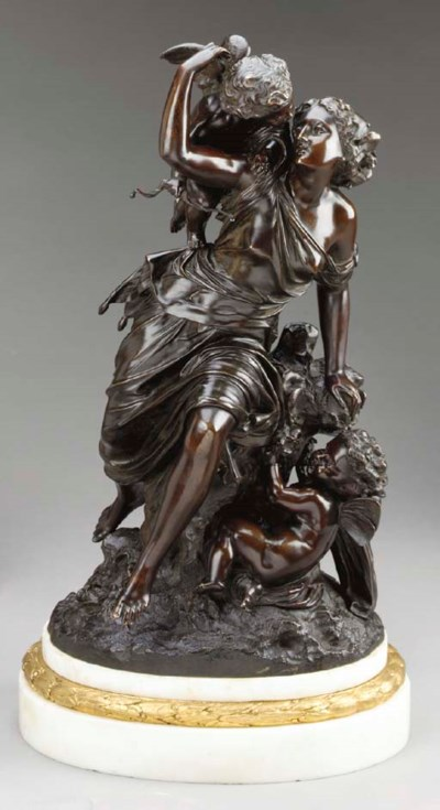 A French bronze group of a Nym