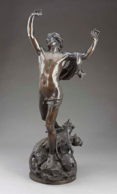 A French bronze figure of Orph