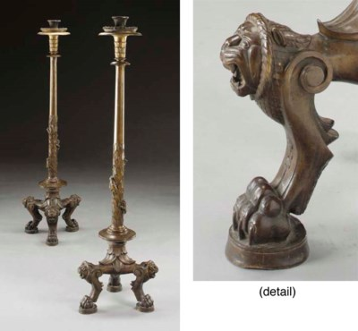 A pair of large patinated bron