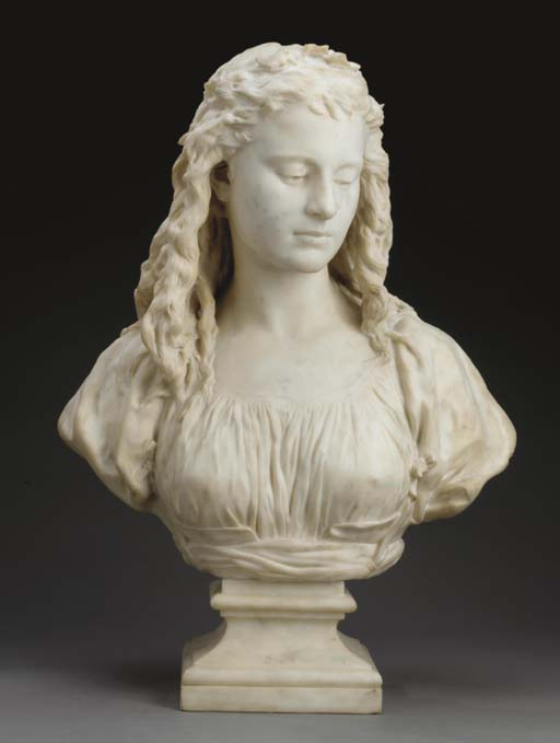 A French white marble bust ent