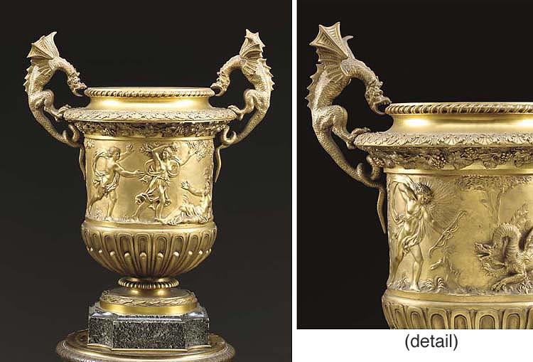 A Louis XIV style ormolu urn