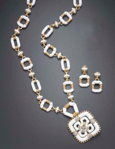 A SUITE OF ENAMEL, DIAMOND AND