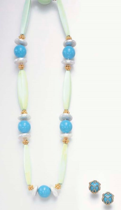 A SET OF TURQUOISE, PEARL AND