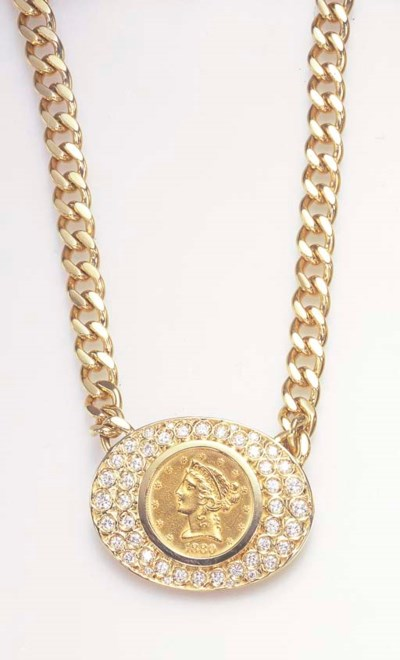 A GOLD COIN AND DIAMOND NECKLA
