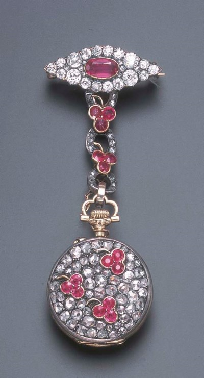 AN ANTIQUE RUBY AND DIAMOND LA