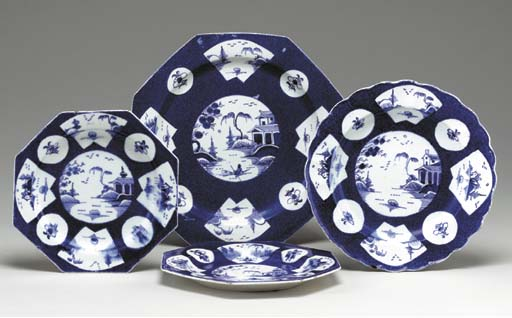 A GROUP OF BOW POWDERED-BLUE GROUND DISHES,