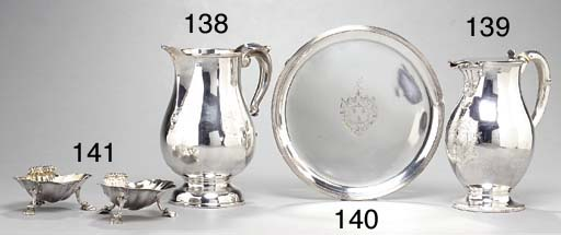 A PAIR OF GEORGE II SILVER SALTS AND A CREAM JUG
