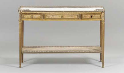 A LOUIS XVI BRASS-MOUNTED MAHOGANY SIDE TABLE,