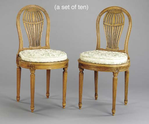 A SET OF TEN LOUIS XVI STYLE BEECHWOOD DINING CHAIRS,