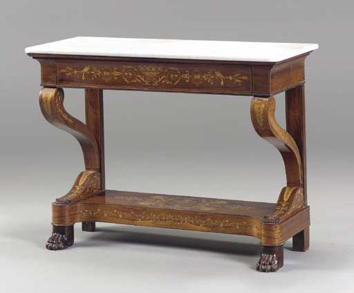 A FRENCH CHARLES X ROSEWOOD FRUITWOOD AND MARQUETRY CONSOLE TABLE,
