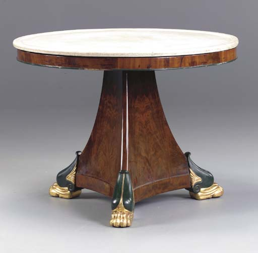 AN EMPIRE MAHOGANY, GREEN-PAINTED AND PARCEL-GILT CIRCULAR CENTER TABLE,