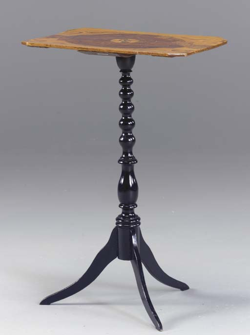 A NEOCLASSIC INLAID-SATINWOOD AND BLACK-PAINTED TRIPOD TABLE,