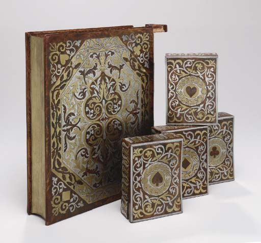 A NAPOLEON III BURR MAPLE, BRASS AND PEWTER INLAID BOOKFORM CARD BOX,