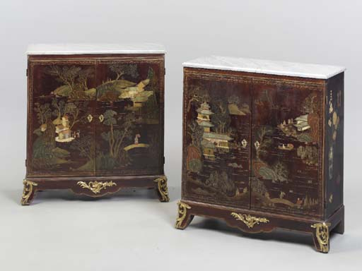 A PAIR OF LACQUER MARBLE-TOPPE
