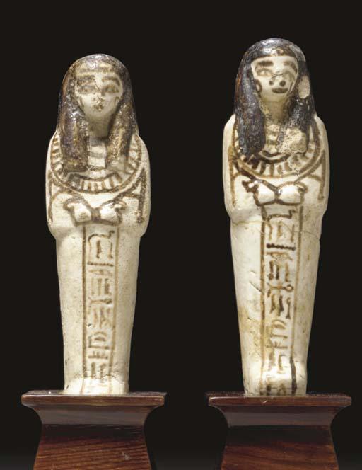 A PAIR OF EGYPTIAN FAIENCE SHA