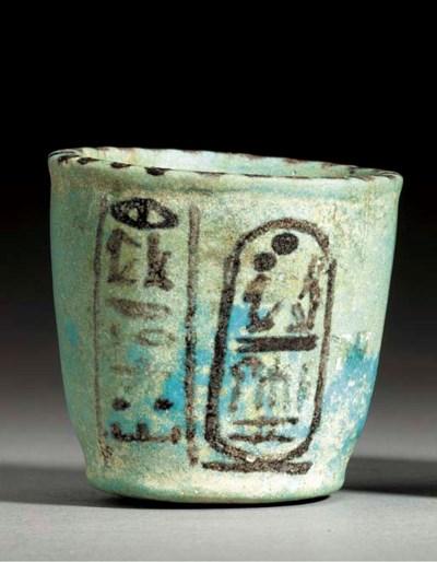 A LARGE EGYPTIAN FAIENCE CUP O