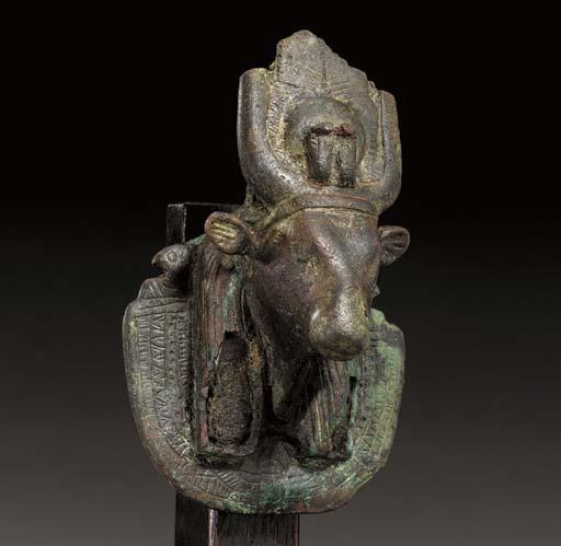 AN EGYPTIAN BRONZE AEGIS OF HA