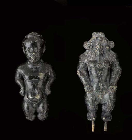 TWO EGYPTIAN STEATITE FIGURES