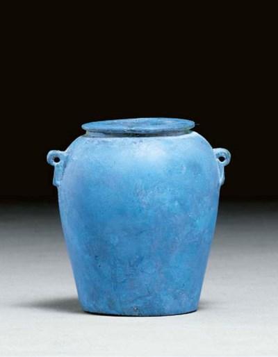 AN EGYPTIAN BLUE VASE