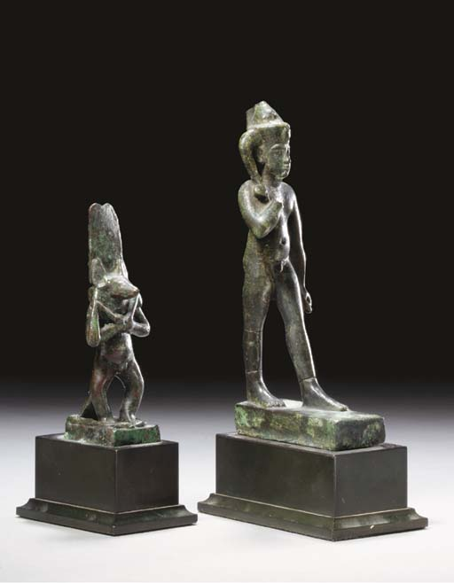 TWO EGYPTIAN BRONZE FIGURES