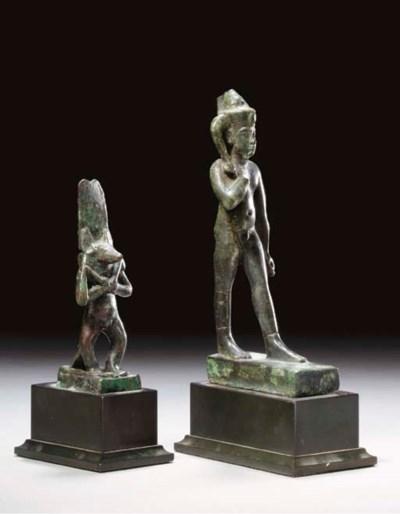 TWO EGYPTIAN BRONZE FIGURES