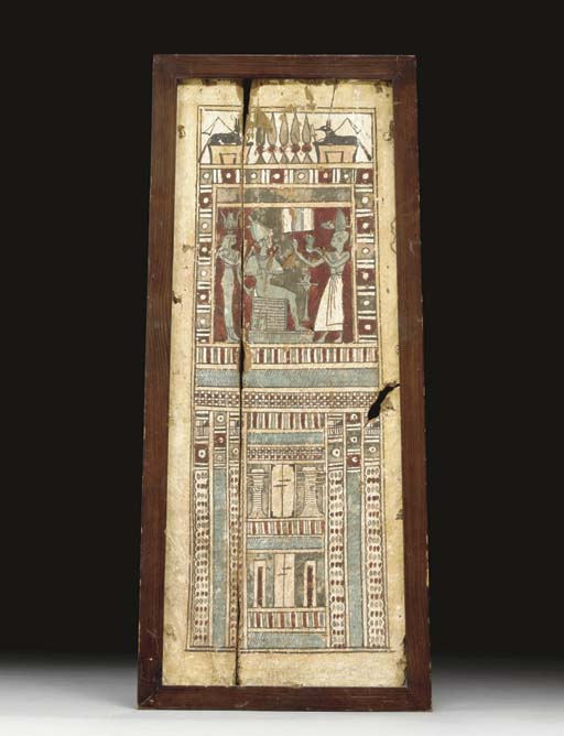 AN EGYPTIAN PAINTED WOOD PANEL