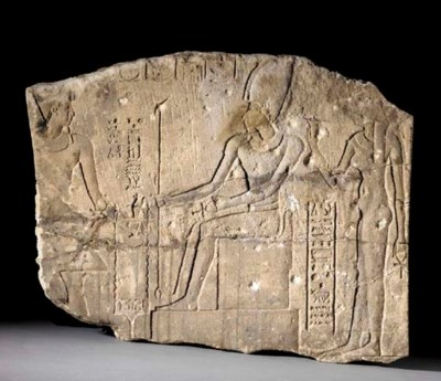 AN EGYPTIAN SANDSTONE RELIEF