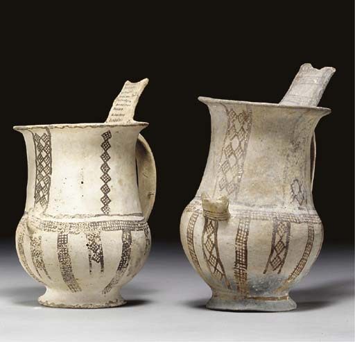 TWO CYPRIOT WHITE-SLIP WARE TA