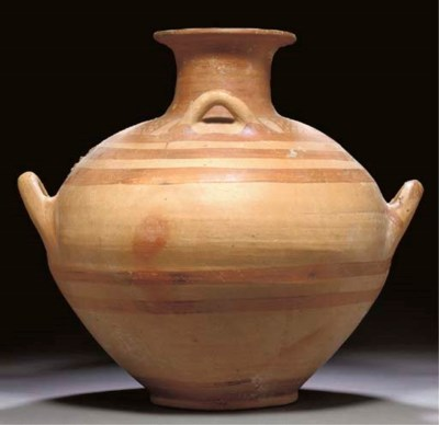 A MYCENAEAN POTTERY FOUR-HANDL