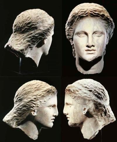 A GREEK MARBLE FEMALE HEAD