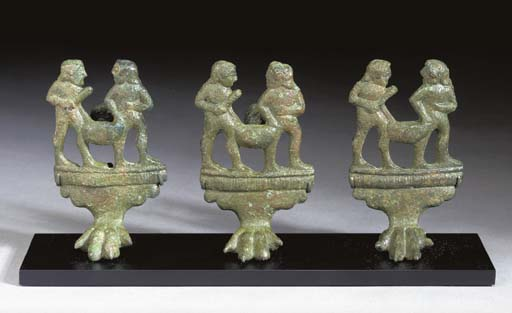 THREE ETRUSCAN BRONZE CISTA FE